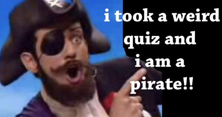 This weird internet quiz said I'm a pirate!